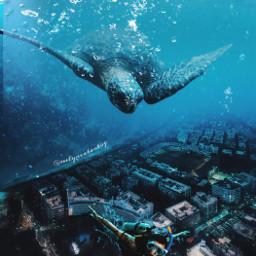 freetoedit surreal underwater turtle city