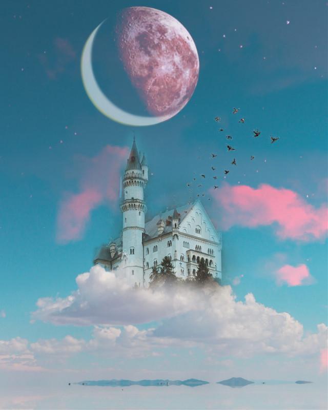 #myedit  .  .  .  #freetoedit #edit #picsart #photography #picture #picsartedit #beauty #beautiful #good #moon #sky #skyline #castle #goodnight #night #birds #follow