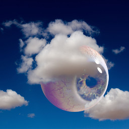 freetoedit eyeball eyeinthesky clouds blue