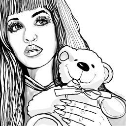 melaniemartinez teddybear hug drawing outline freetoedit