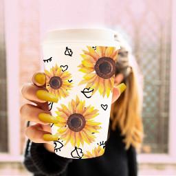 freetoedit sunflower yellow yellowflower pretty irccoffeecupdecoration coffeecupdecoration