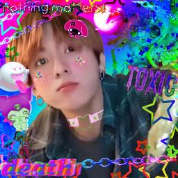 jeonggukedit btsedit cybercore goth rainbowcore freetoedit