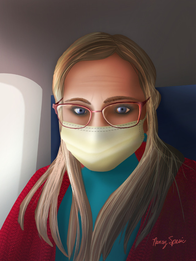 #portrait #drawing #selfportrait 😷✌ (recent airplane trip) #selfie #staysafe #mask #mydrawing  To see the drawing steps tap the url 👇 https://picsart.com/i/323731374097201