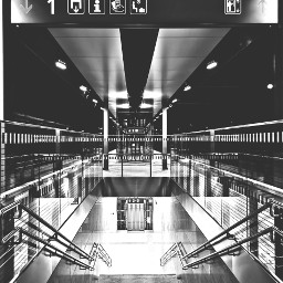 railwaystation stairway blackandwhite nopeople