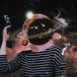 freetoedit girl head aesthetic astronaut