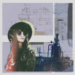 freetoedit art collage factory girl