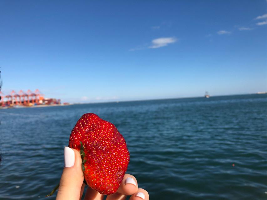 #strawberries #sea #sky #lovely