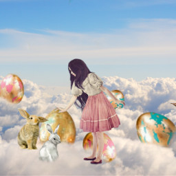 freetoedit eastereggbrush bunny clouds stayinspired