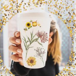 freetoedit flowers bees asthetic coffeecup irccoffeecupdecoration coffeecupdecoration