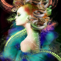 freetoedit snake portrait avantgarde hair