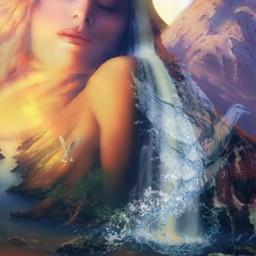 freetoedit myedit woman river mountain