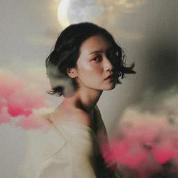 freetoedit girl moonlight moon clouds