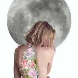 freetoedit floral blossom moon back