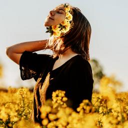 yellow flowers freetoedit girl tmblr