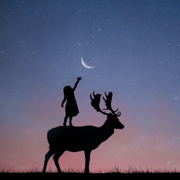 freetoedit moon silhouette deer girl