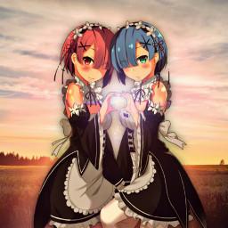 freetoedit rezero remandram anime ramandrem