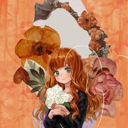 floralsketch picsartchallenge animiegirl flower orange rcfloralsketch