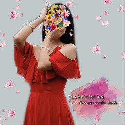 freetoedit flowersinherhair demonsinherhead red dress