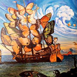 freetoedit painting sailingship butterflies fotography