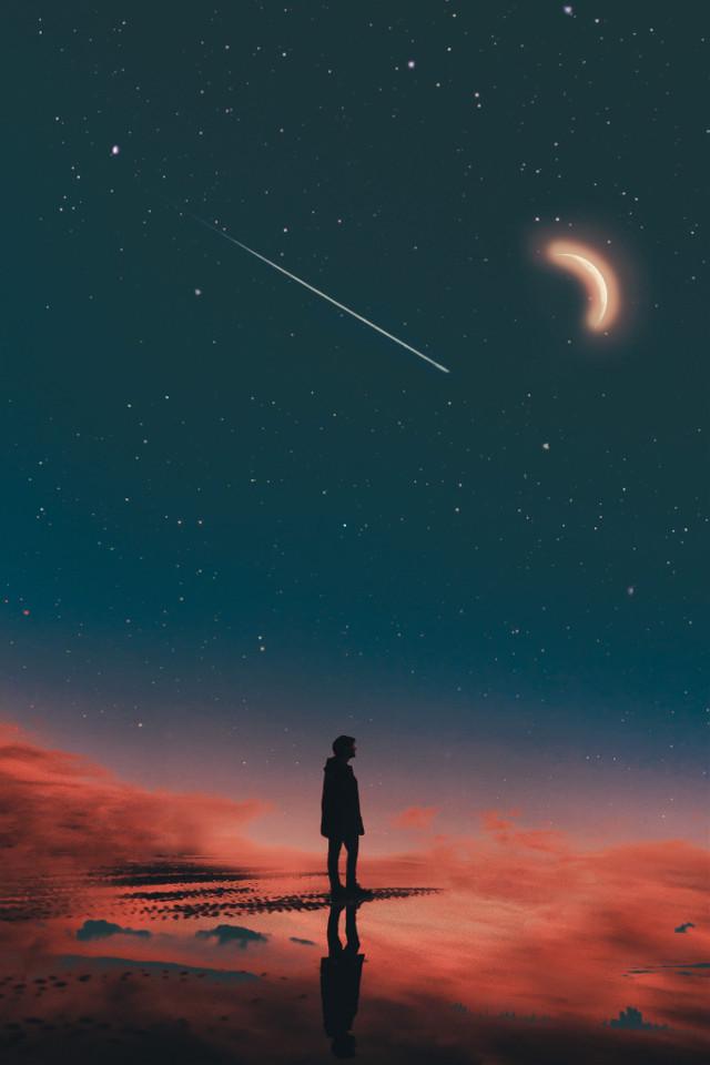 #freetoedit #dream #dreming #moon #night #nightsky #shootingstar #stars #clouds #sunset #silhouette #guy #boy #moody #tones #reflection #interesting #art #nature #photography