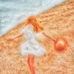 freetoedit girl blondie whitedress field