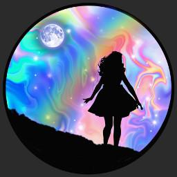 freetoedit pastel circleframe girl girlsilhouette