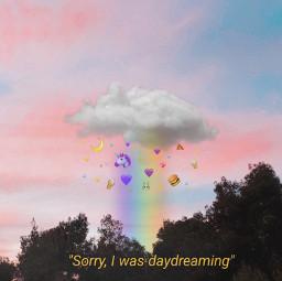 freetoedit rainbow aesthetic daydream yellowtext