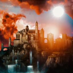sun light palace castel clouds freetoedit