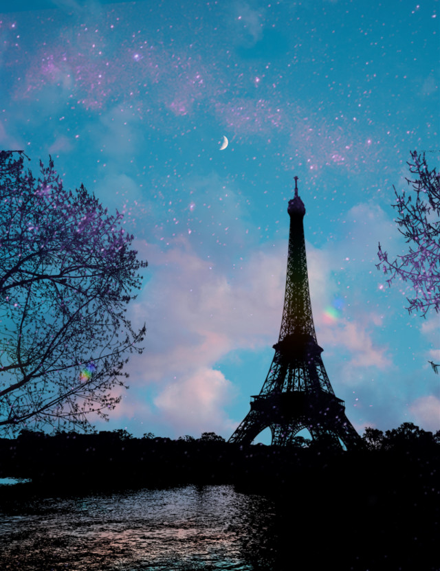 #freetoedit  #silhouettes #sky #eiffeltower