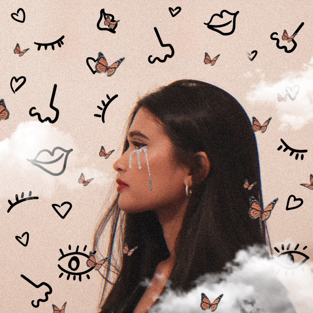 #aesthetic #doodle #clouds #butterflies #glitter #tears #girl #beautiful #tumblr #challenge #face #lips #eyes #nose #interesting #art #vote #edit #picsart  #freetoedit