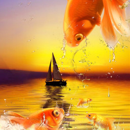 freetoedit fishes ocean sunset boat