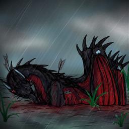art dragon sketch blood gore