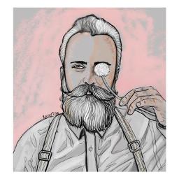 bearded man dandelion makeawish pink fte freetoedit