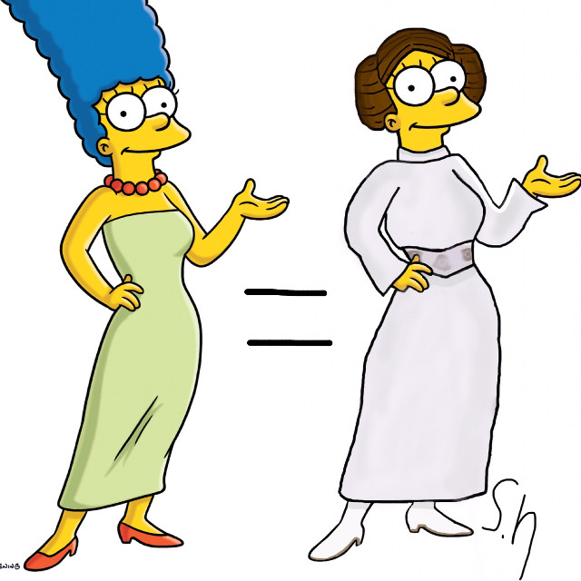 Marge organa😂 Who do i do next?? #starwars #leiaorgana #simpsons #transformation  #margesimpson