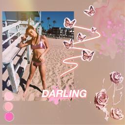 dixiedamelio beach bikini pink butterflys freetoedit