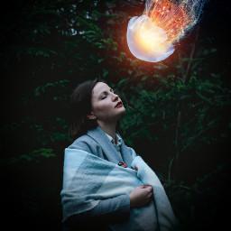 freetoedit jellyfish shine dark madewithpicsart illustration girl portrait remixed
