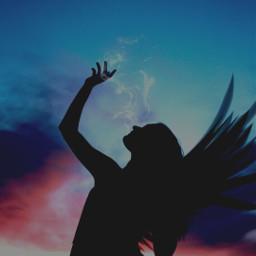 freetoedit silhouette wing smoke sunset ircsunsetsilhouette sunsetsilhouette