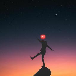freetoedit nightsky stars moon moonlight nature neon silhouette heartbroken evening remixed