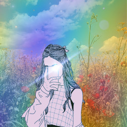 freetoedit girl rainbow interest interesting