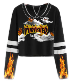 freetoedit trasher fire chain goth