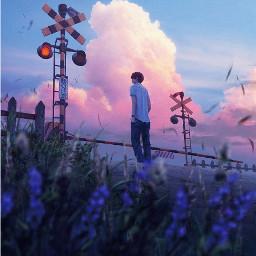 anime boy art sad alone scenery