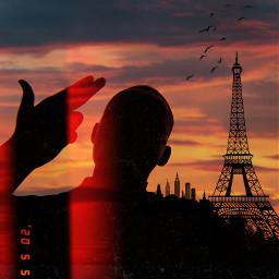 freetoedit humananimalhybrid silhouettestickers sunset