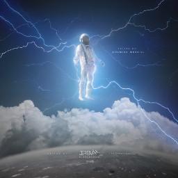 astronaut lightning clouds night stayinspired