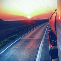 drive sunset