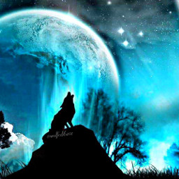 wolf teal howlingwolf fullmoon silhouettes freetoedit