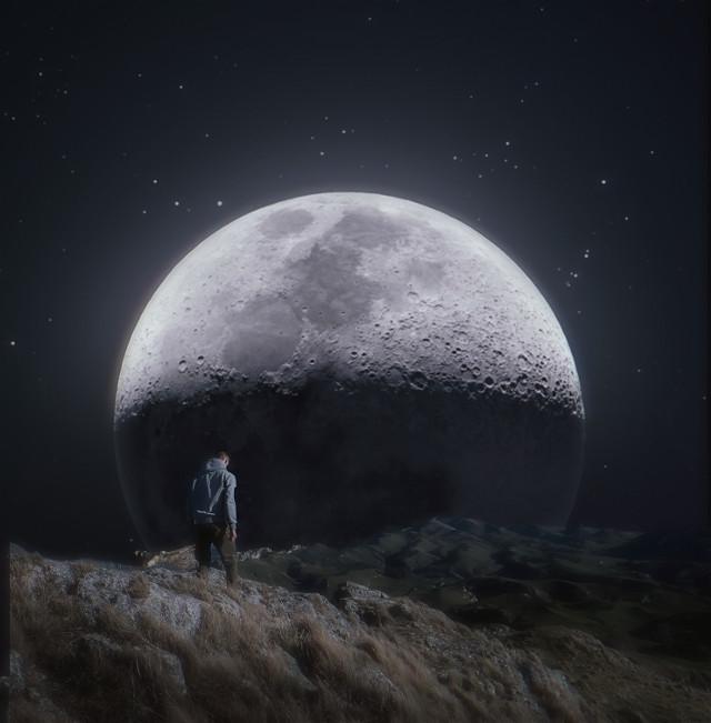Humble Path... #moon #hill #distant  #journey  #path #nightsky  #walk   #freetoedit