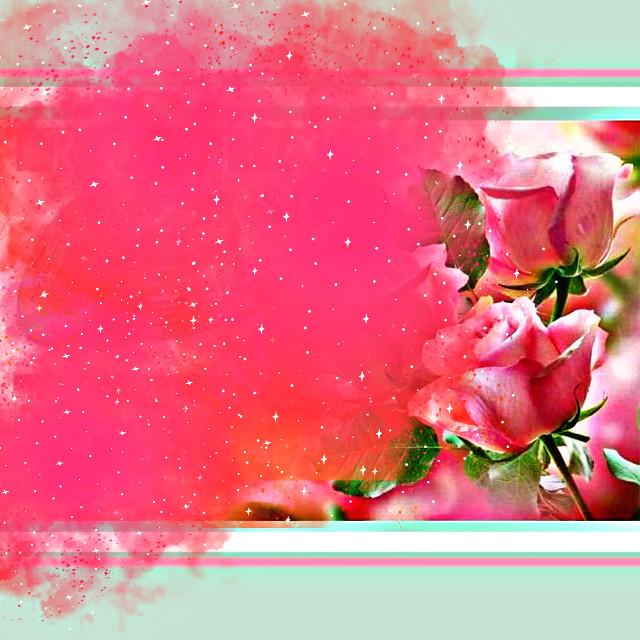 #freetoedit #pink #mint #flowers #roses #green #paint #hdreffect