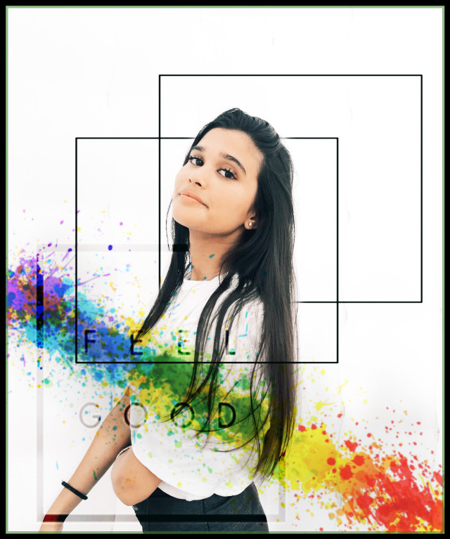 #freetoedit #nc86 #paint #paintsplash #rainbow #girl #square #happy #nothingspecial