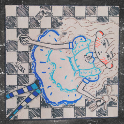 alice aliceinwonderland blue drawing red