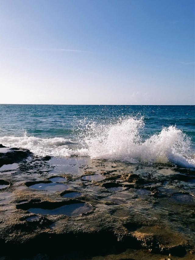 #myphotography #beach #waves #rocks #myhometown #summer #sunnyday  #freetoedit